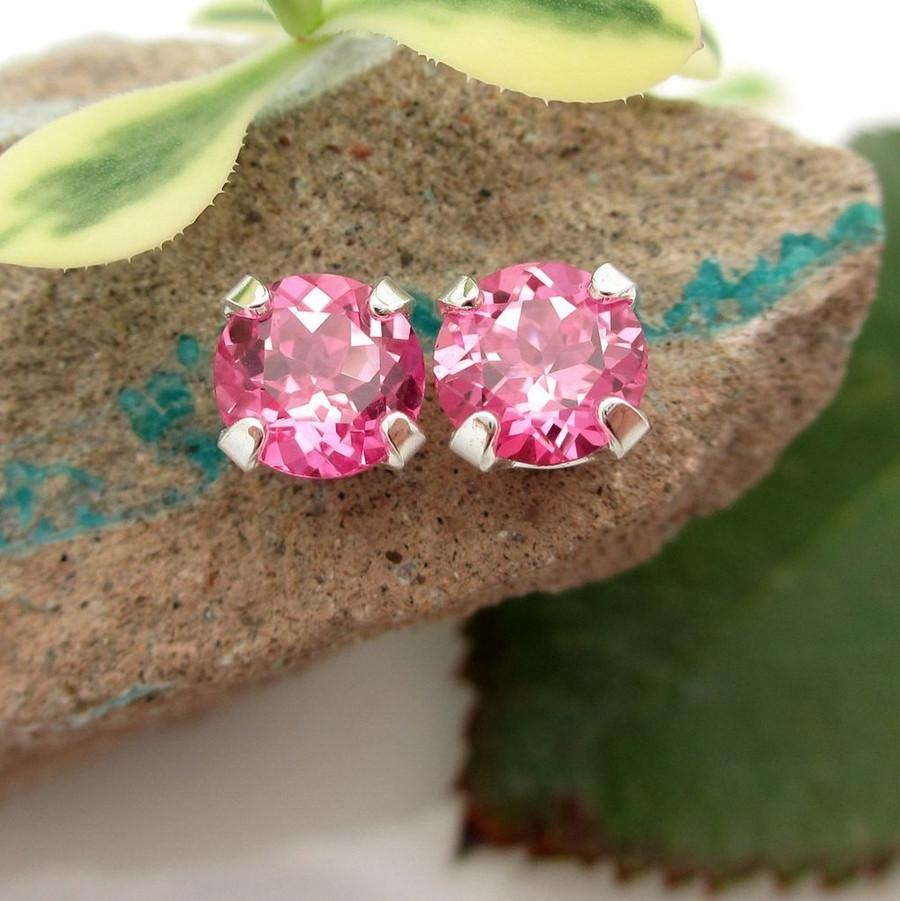 Pink Sapphire Stud Earrings | Lab Grown