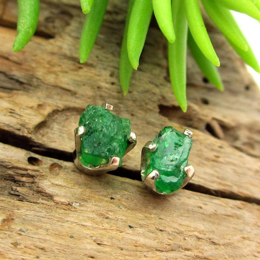 Raw Tsavorite Garnet Stud Earrings in 14K White Gold Screw Backs, Medium 5mm