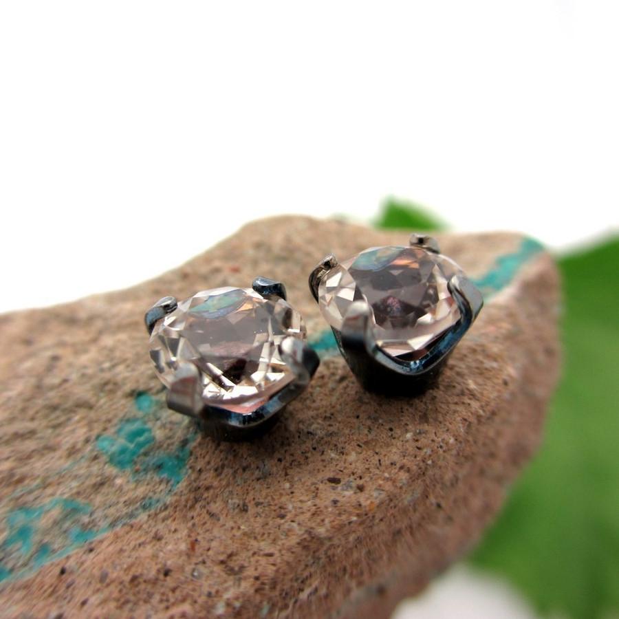 Black Silver Stud Earrings   White Topaz   Rainbow Patina