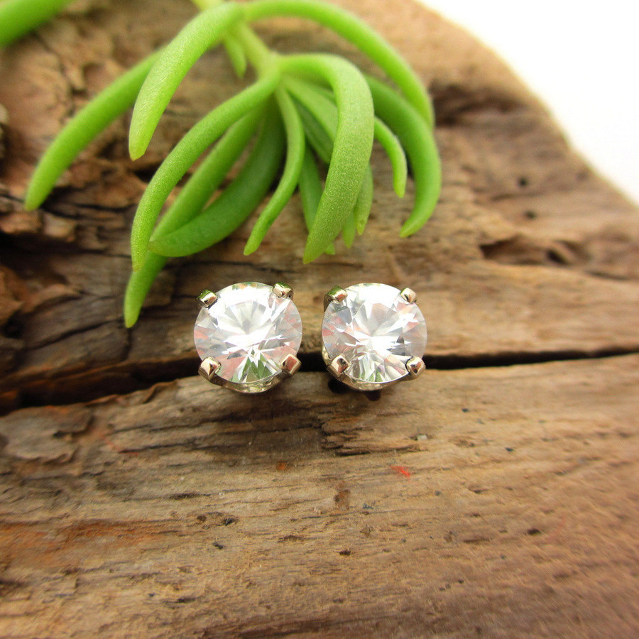 White Zircon Stud Earrings