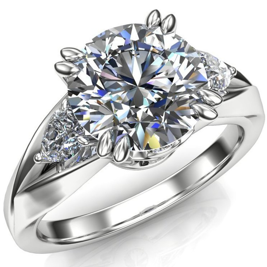 Pear Curve 3 Stone Engagement Ring | Round 2ct Diamond