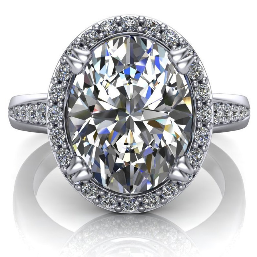 Halo Tapered Engagement Ring | Oval 3 Carat Diamond