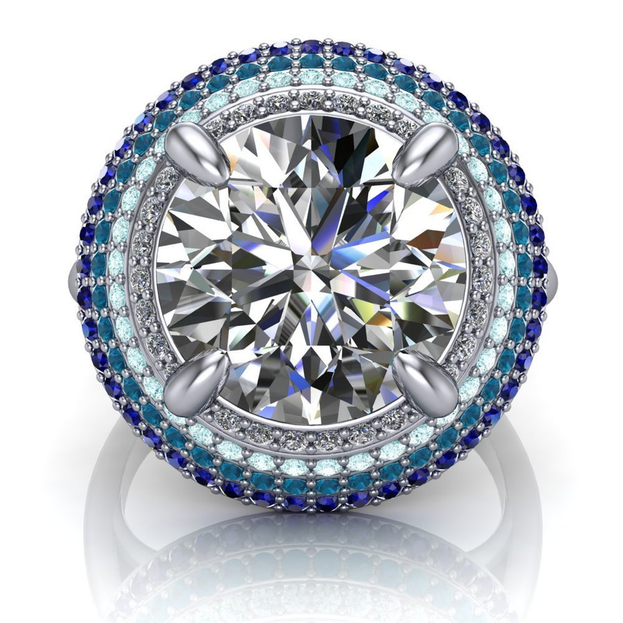 Baja Blue   4 Carat Diamond Halo Engagement Ring   Round