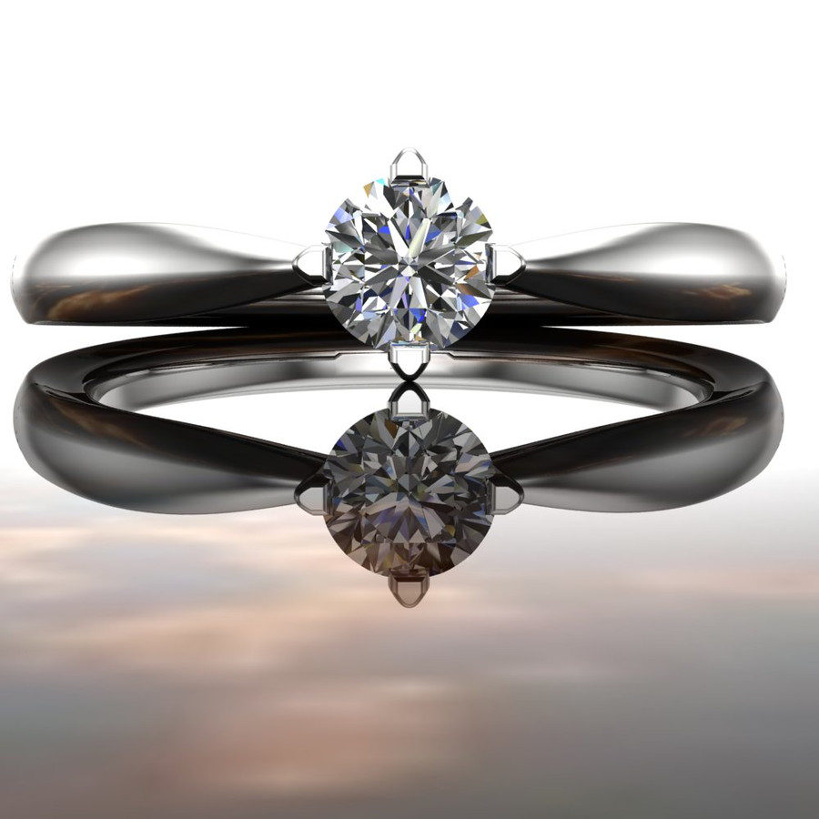 Elegant Affordable Engagement Ring   Round 1/5 Ct Diamond