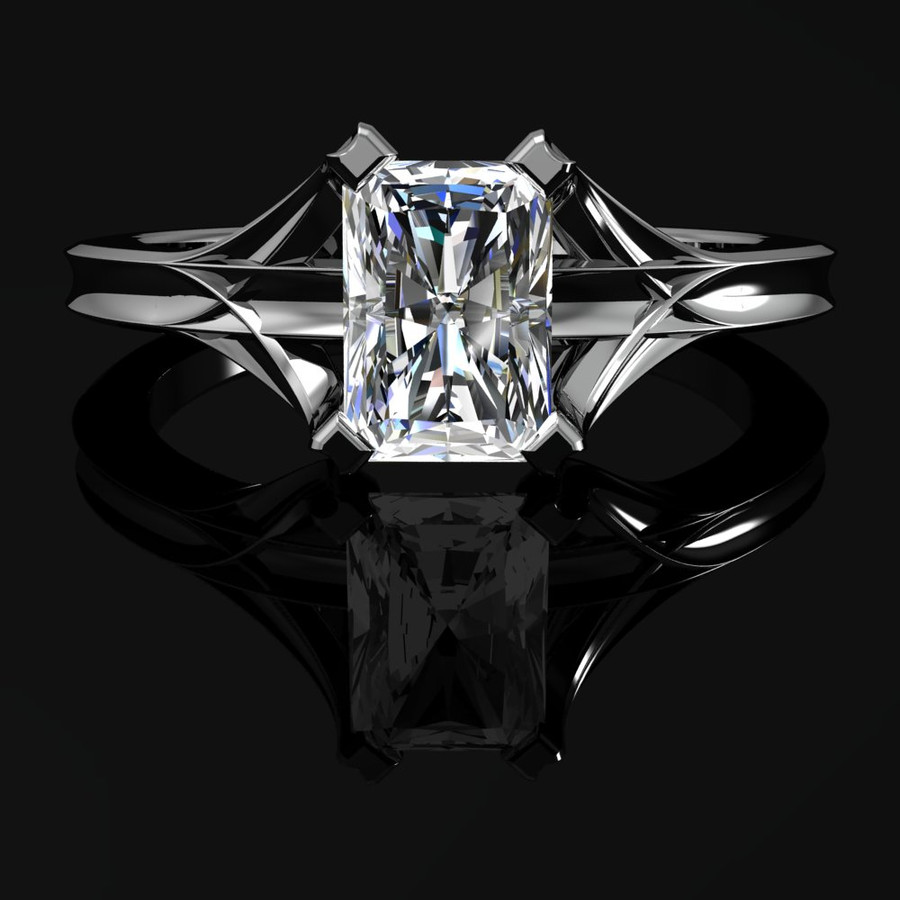 Architect X Emerald Cut Diamond Engagement Ring .8ct