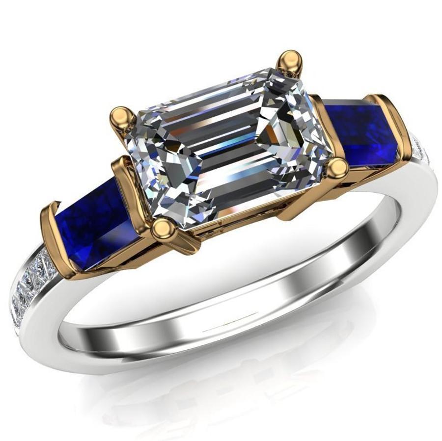 Royal Colors Engagement Ring   1ct Diamond & Blue Sapphires