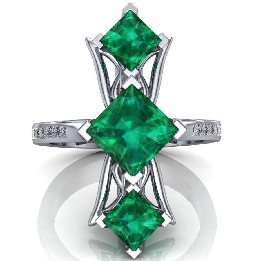 Red Carpet Royalty Art Ring   Princess Cut Emeralds