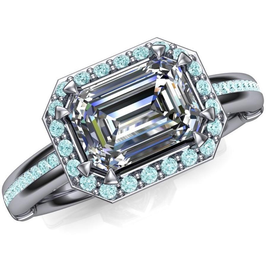 Blue Halo Engagement Ring   Emerald Cut 1ct Diamond