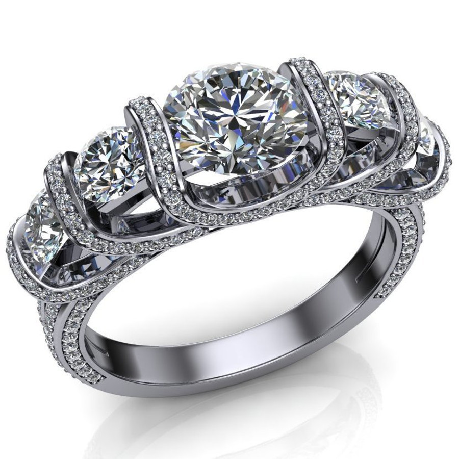 Royalty Five Stone Engagement Ring   Round 2+ Cts Diamonds