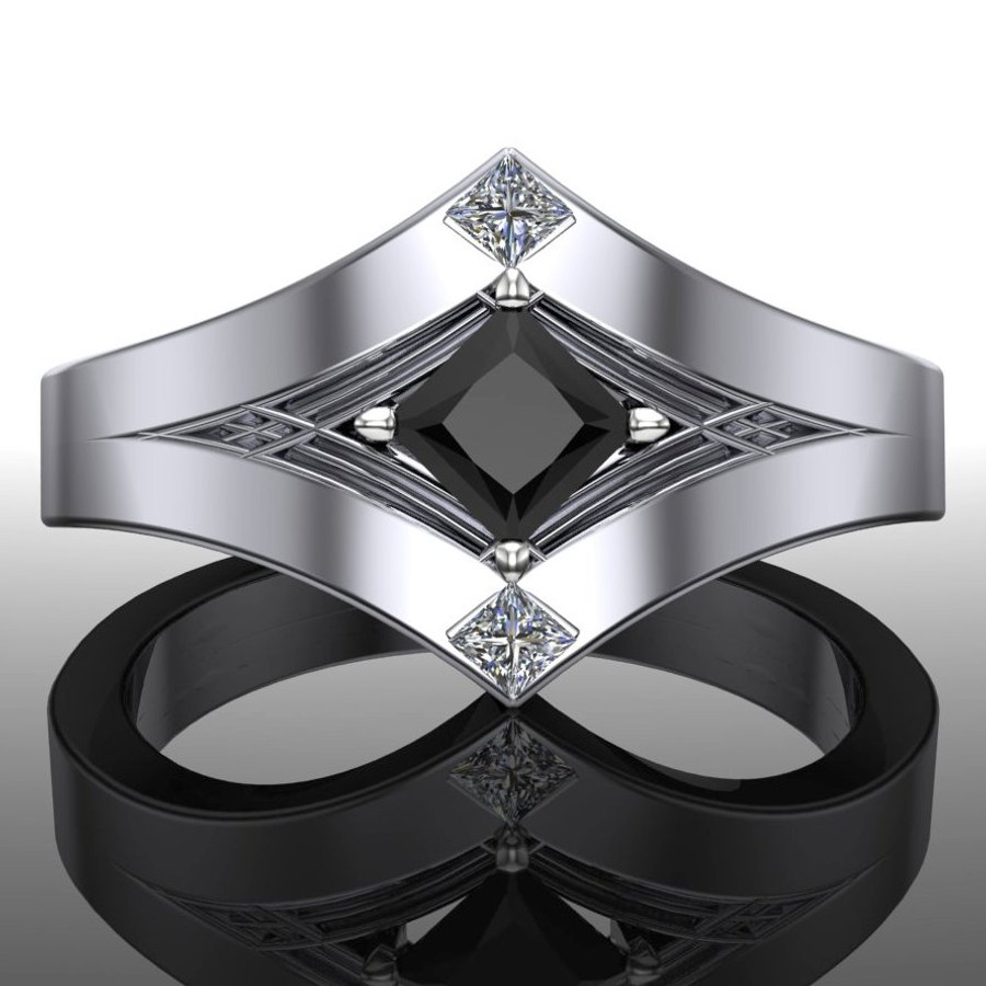 Masculine Engagement Ring, Art Deco Design With Black and White Diamonds center view