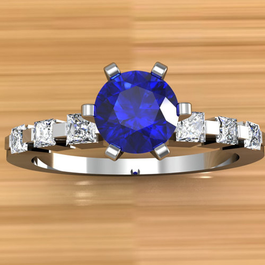 Narrow Engagement Ring   Round 1/2 Carat Blue Sapphire