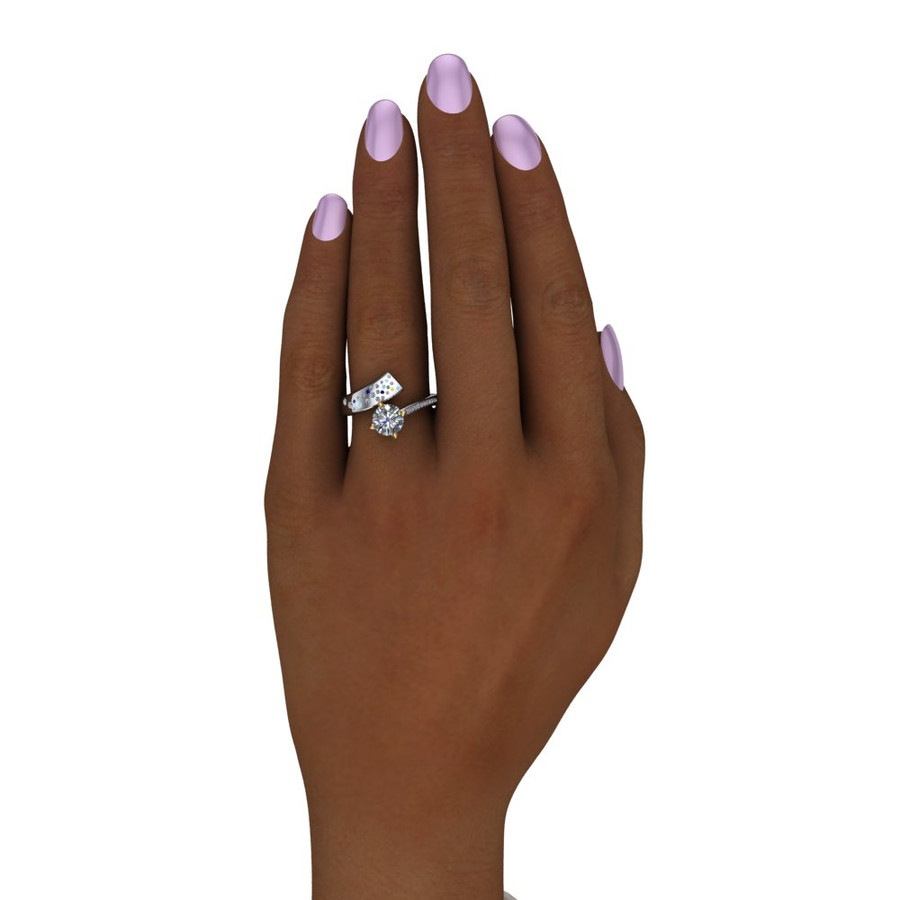 Shooting Star Comet Ring with 1 Carat Diamond, Asymmetrical Two Tone on black hand