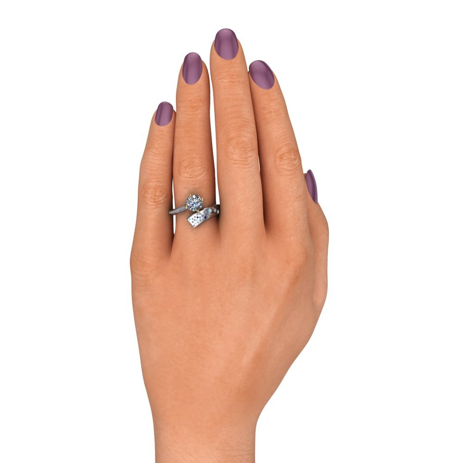 Shooting Star Comet Ring with 1 Carat Diamond, Asymmetrical Two Tone on white hand