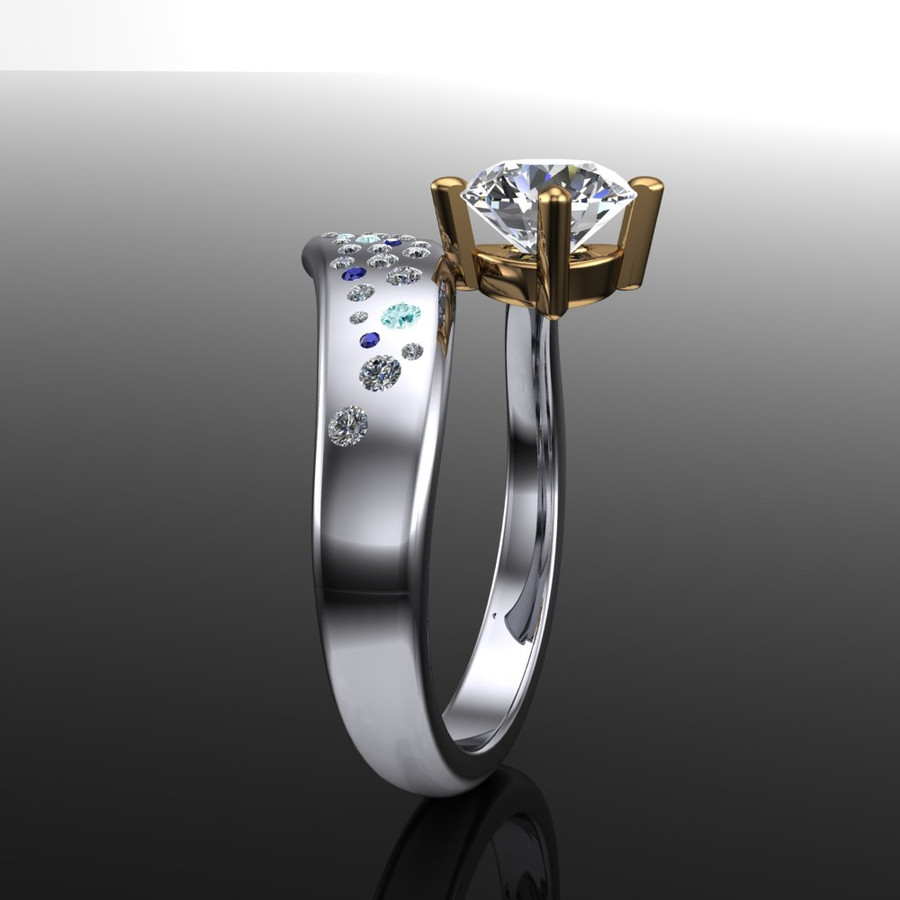 Shooting Star Comet Ring with 1 Carat Diamond, Asymmetrical Two Tone side view