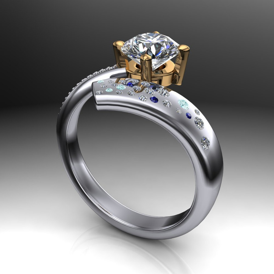 Shooting Star Comet Ring with 1 Carat Diamond, Asymmetrical Two Tone angled view