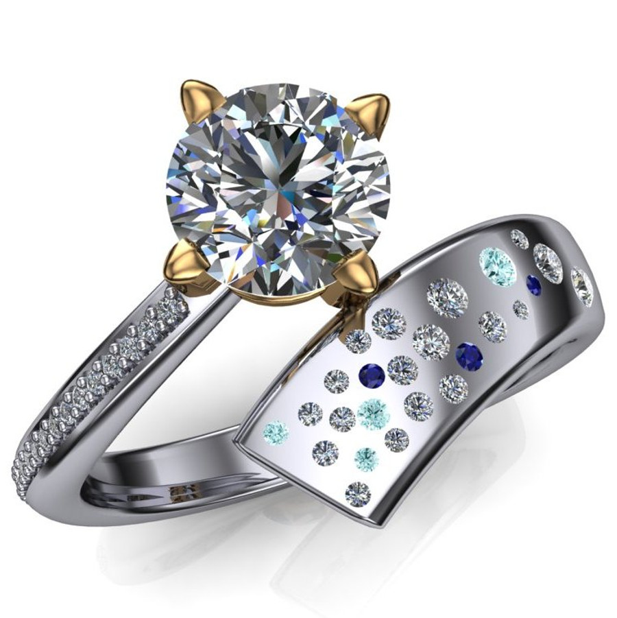 Shooting Star Comet Ring with 1 Carat Diamond, Asymmetrical Two Tone overhead view