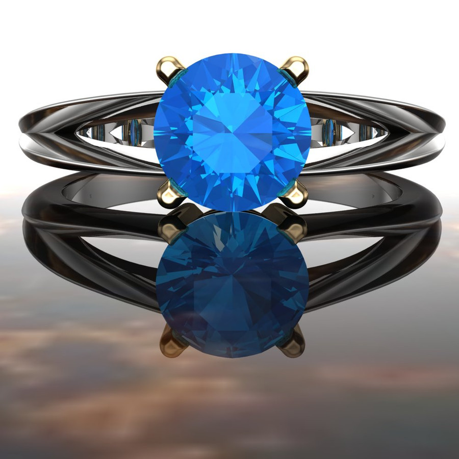 Split Band Gemstone Ring   Round 1 Carat Swiss Blue Topaz
