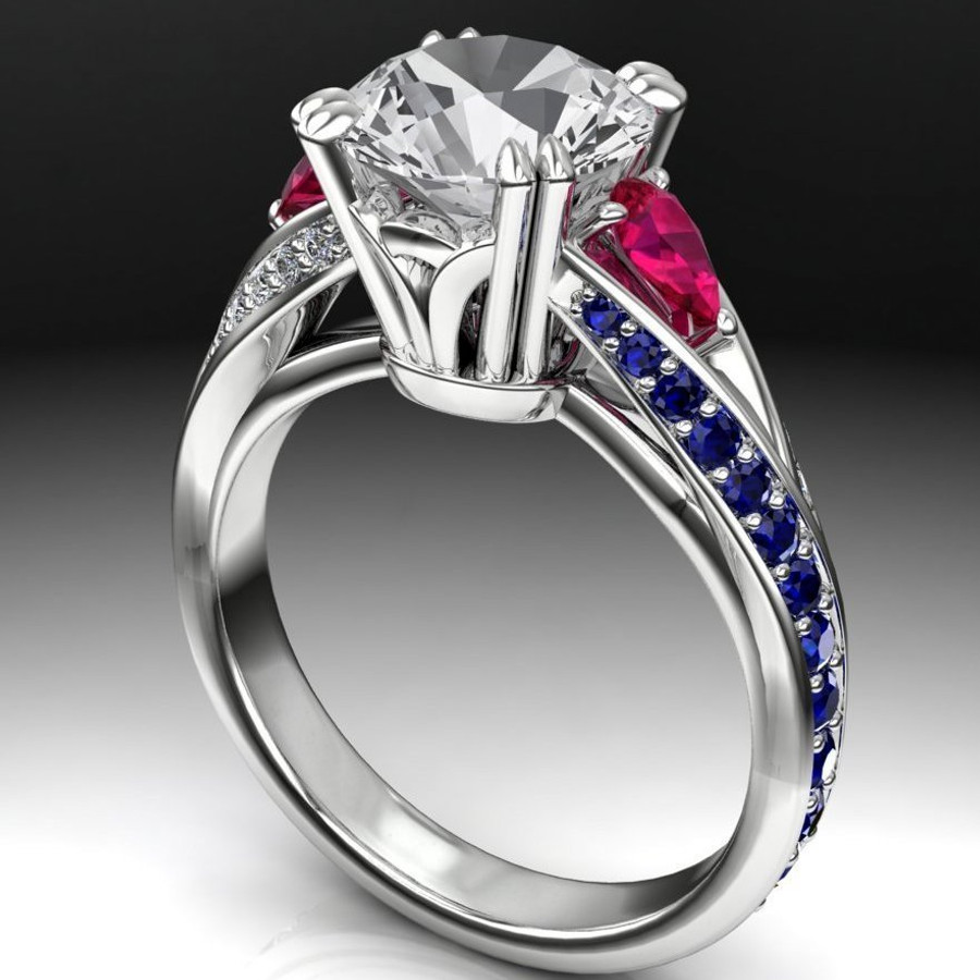 Pear Curve Engagement Ring | Round 2ct Diamond + Sapphire & Ruby