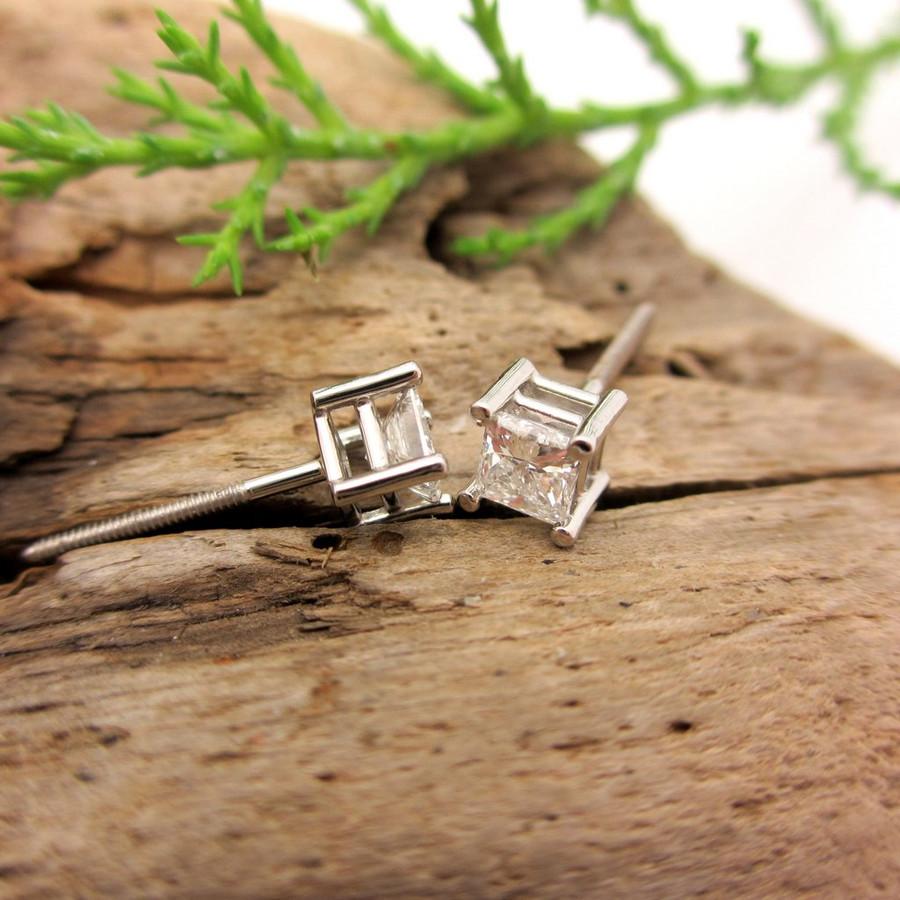Princess cut diamond stud earrings with screw backs