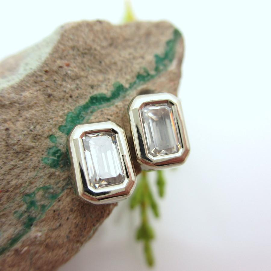 Emerald Cut Moissanite Stud Earrings
