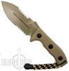 Microtech Crosshair Tan Double Edge Knife, Part Serrated, 101-2TA
