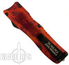 Conquest Tactical Fire Red Fury OTF Auto Knife, Stonewash Tanto Blade