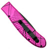 Piranha Pink Toxin Auto Knife, 154CM Black Combo Blade