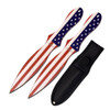 Perfect Point PP-116-2A American Flag 2-Piece Throwing Knife Set, Red/White/Blue Finish