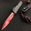 Marfione Custom Knives 122-3LV Lord Vader Ultratech Carbon Fiber/Alloy D/E OTF Auto Knife, Full Serrated Red Blade