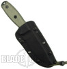 ESEE Knives 4S Fixed Blade Knife, Black Part Serrated Blade, Linen Micarta Handle