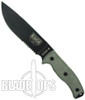 ESEE Knives 6S Fixed Blade Knife, Black Part Serrated Blade, Linen Micarta Handle, Coyote Brown Sheath