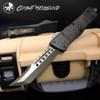 Microtech 219-1GRBCF Signature Series Combat Troodon Carbon Fiber/Aluminum Hellhound Tanto OTF Auto Knife, Green Blade