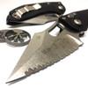 Microtech 169-12 Borka Stitch Wharncliffe Auto Knife, Full Serrated Stonewash Blade