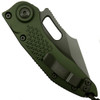 Microtech 169-3GR Borka Green Stitch Wharncliffe Auto Knife, Full Serrated Green Blade