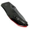 Bear Edge 61103 Black/Red Sideliner Spring Assist Knife, Black Blade