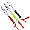 UZI TRW-005 Multi-Color 3-Piece Throwing Knife Set, Wrist Sheath, Satin Blades