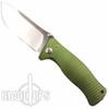 Lion Steel Knives SR1-Al Green Aluminum Folder Knife, Satin Plain Blade