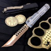 """Microtech 119-13CL """"Clear Top"""" Ultratech Hellhound Tanto OTF Auto Knife, Bronze Blade"""