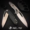 Microtech 196-10CF Sigil MK6 Carbon Fiber/Titanium Flipper Knife, Stonewash Blade