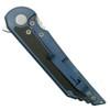 Hoback Knives Kwaiback Blue Titanium/Carbon Fiber Flipper Knife, CPM Cru-Wear Stonewash Blade