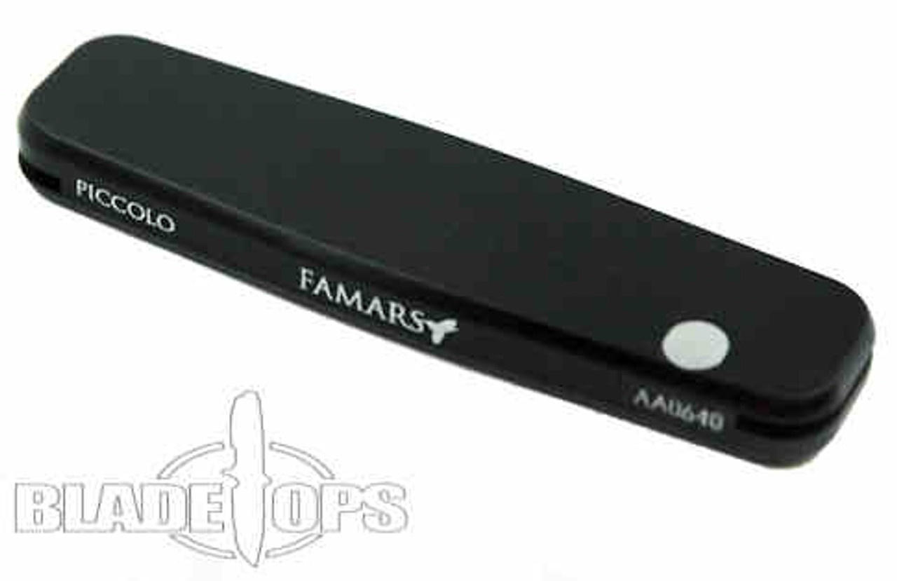 Famars Auto Piccolo, Black Aluminum, Standard and Tanto Blade
