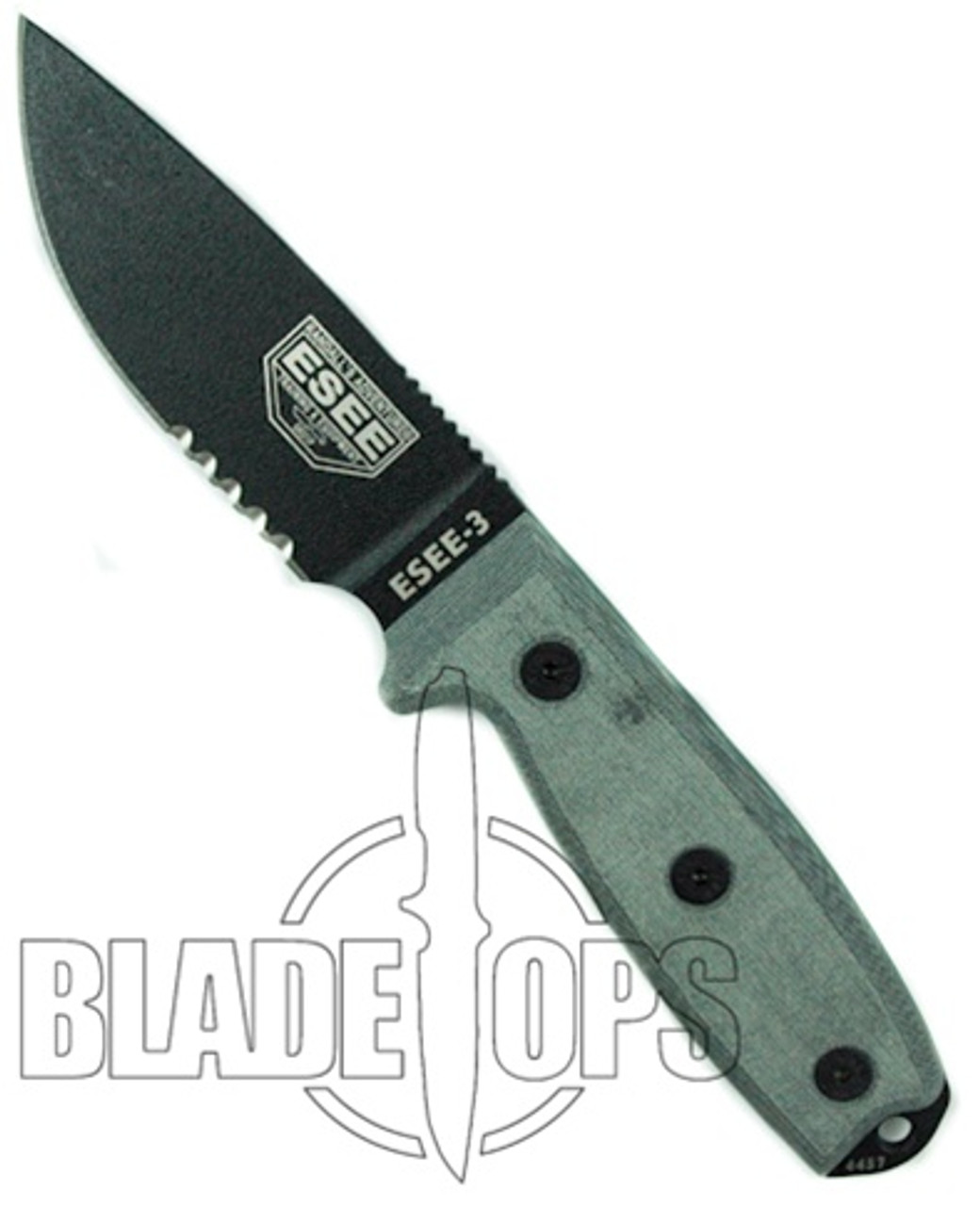 ESEE Knives Fixed Blade Knife, Black Part Ser Blade, Modified Pommel,  Linen Micarta Handle, ESEE-3SM