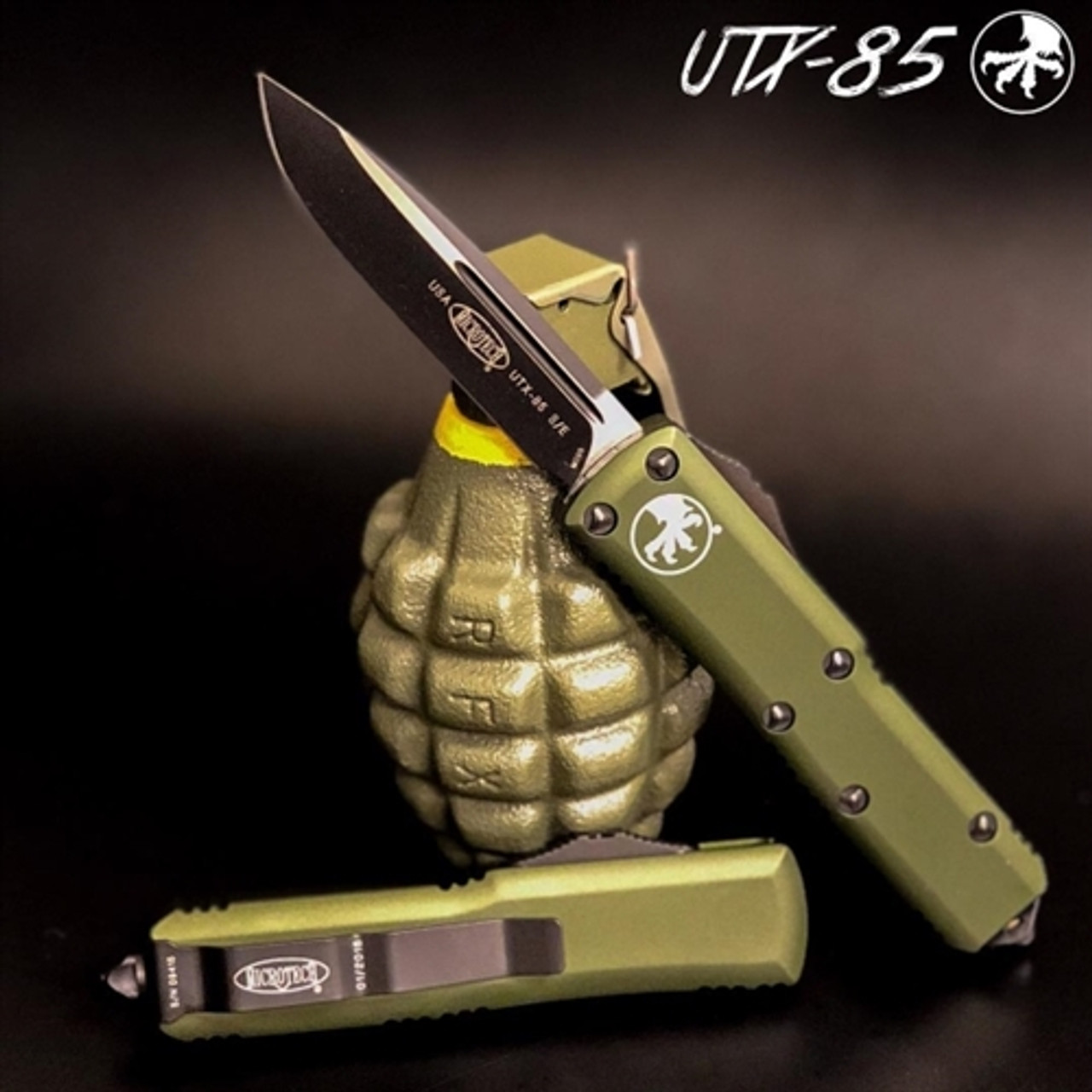 Microtech 231-1OD OD Green UTX-85 S/E OTF Auto Knife, Black Blade