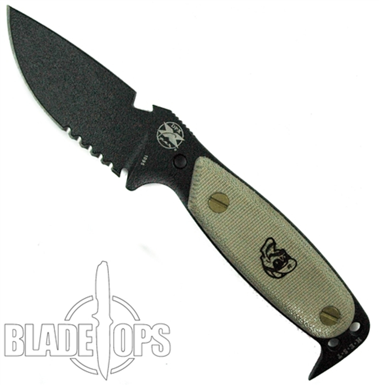 DPx HEST Original Fixed Blade, Black Serrated Blade
