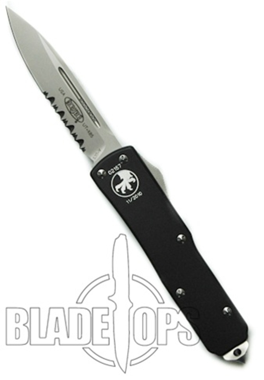 Microtech UTX85 D/A Out the Front Knife, Single Edge, Bead Blast Part Serrated, MT125-8