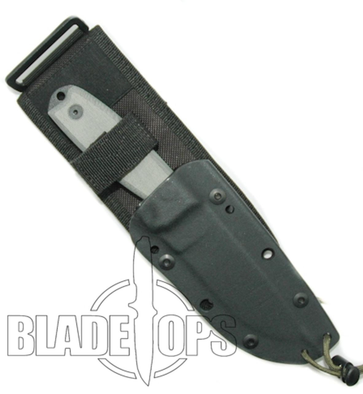 ESEE Knives 4P-MB Fixed Blade Knife, MOLLE Back, Black Blade, Linen Micarta Handle
