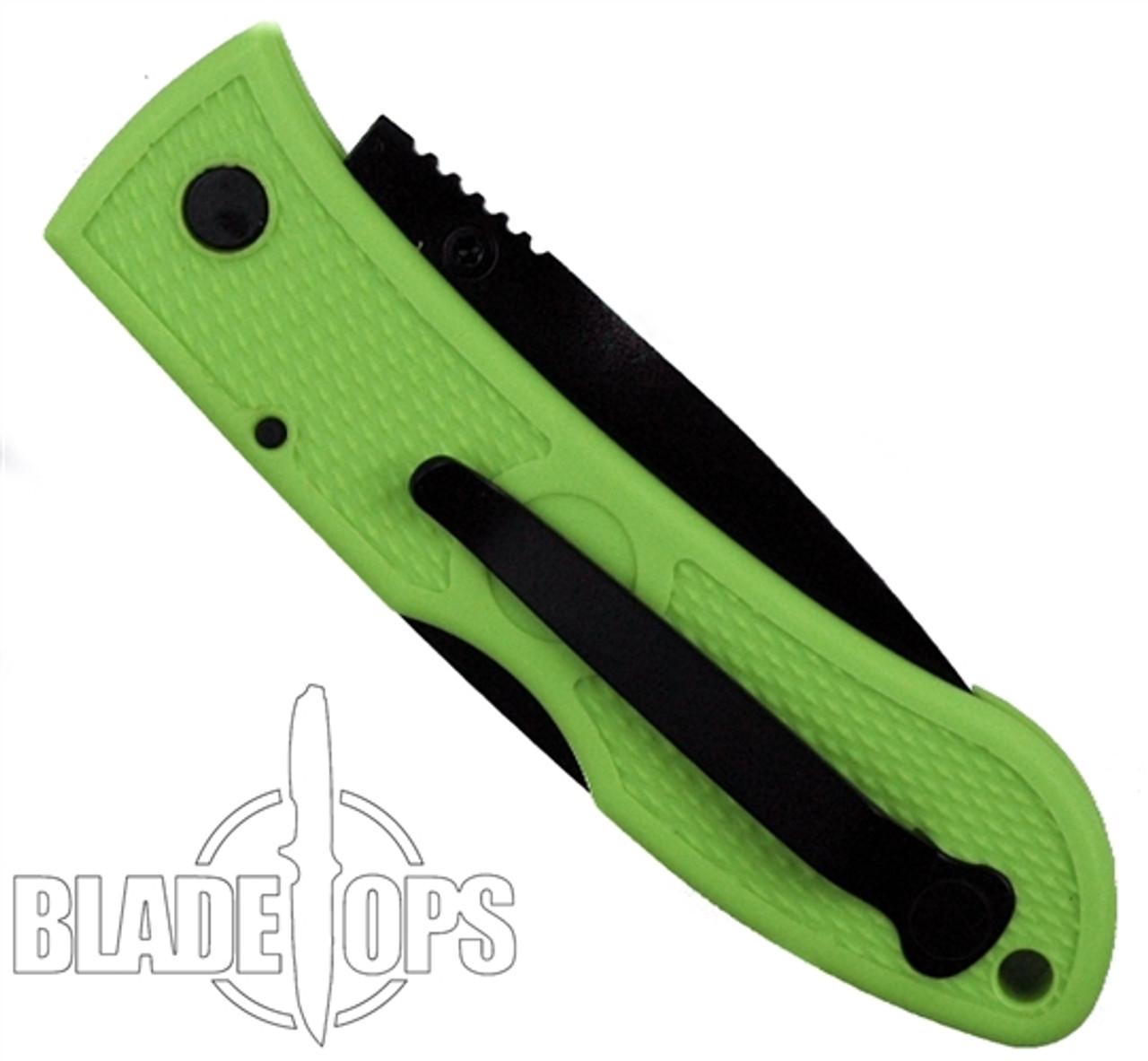 KA-BAR Mini Dozier Zombie Green Folding Hunter Knife, Black Plain Blade