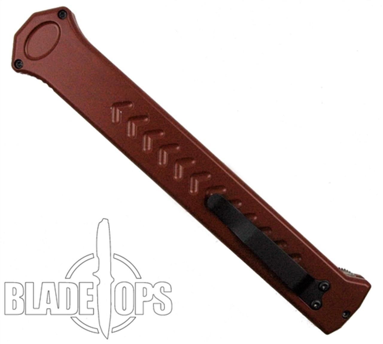 Paragon Red Estiletto OTF Auto Knife, Red Combo Edge Dagger Blade