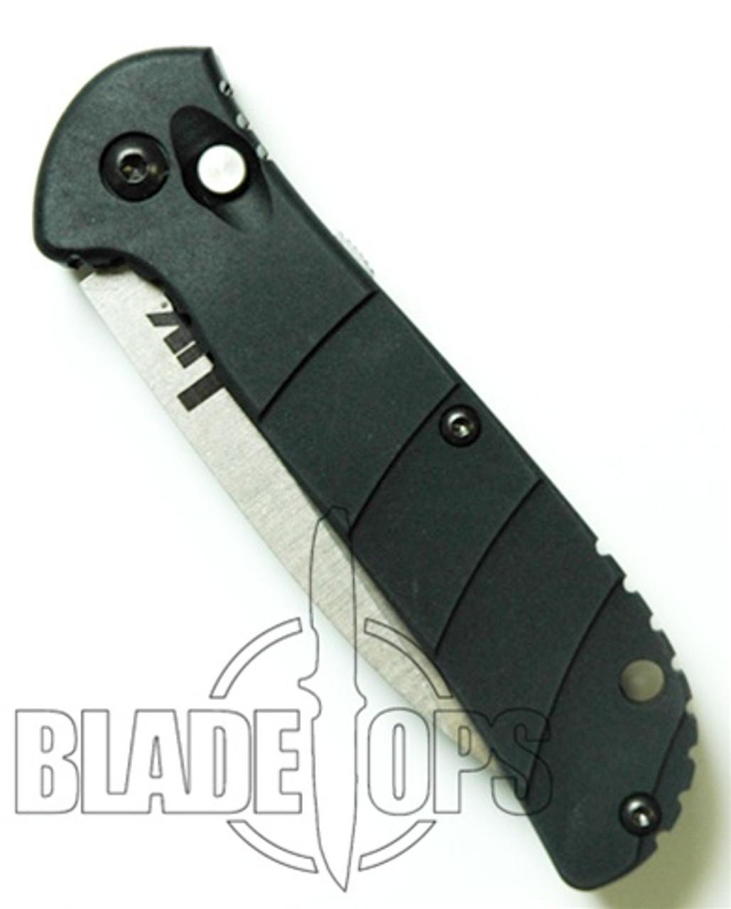 Benchmade HK Mini Auto Knife, Pardue, Stonewash Part Serrated, 14750S