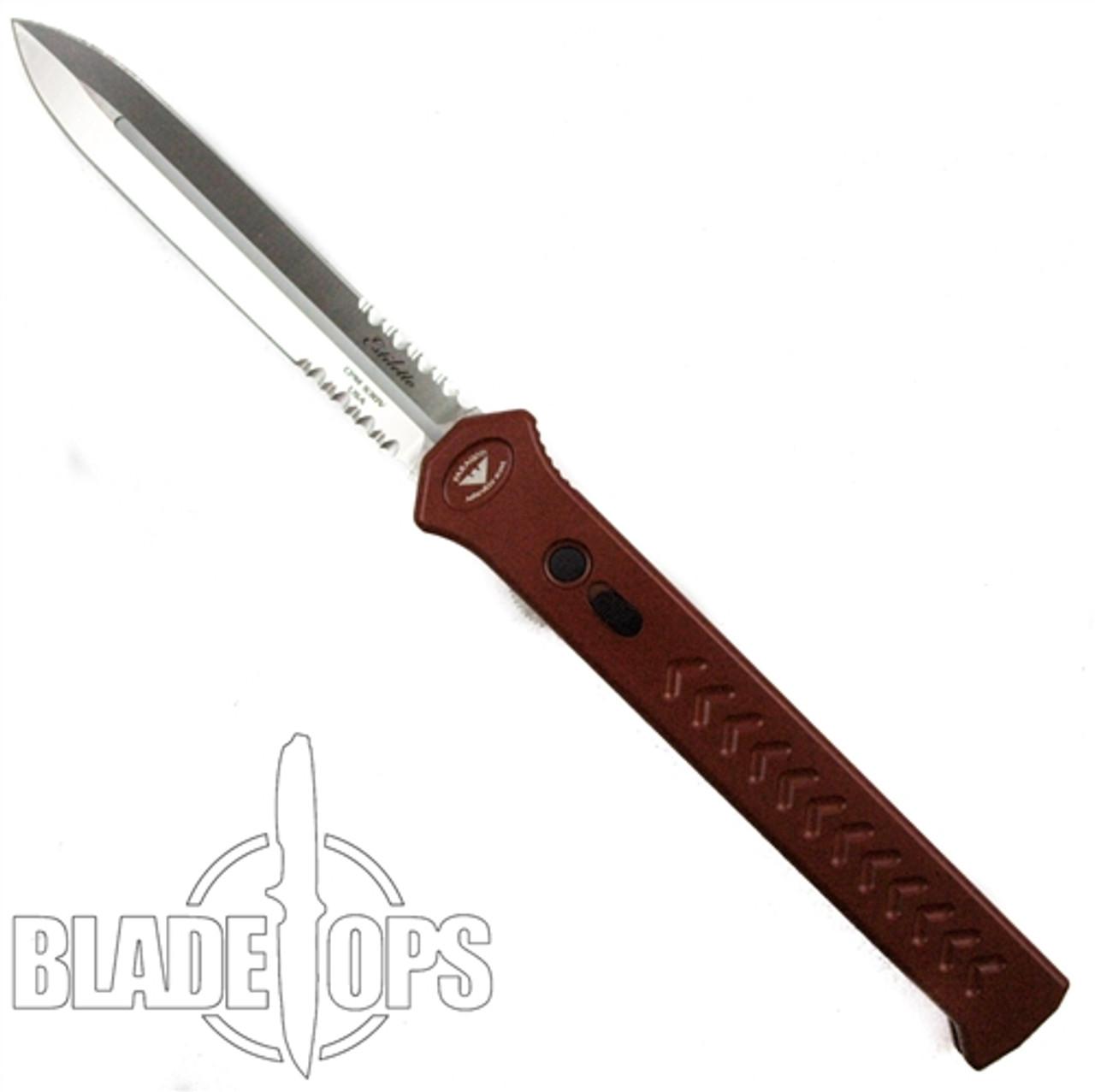 Paragon Red Estiletto OTF Auto Knife, Satin Combo Edge Dagger Blade